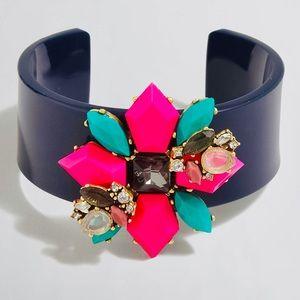 J Crew Floral Hibiscus Gemstone Bead Cuff Bracelet